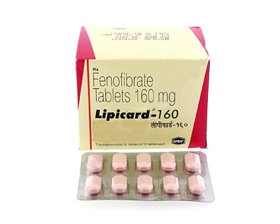 A box of generic Fenofibrate 160mg tablets