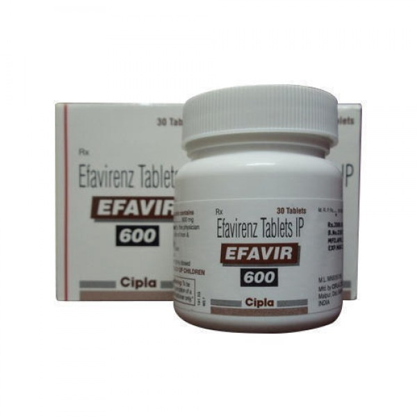 Box and a bottle of Efavirenz 600mg Tablets