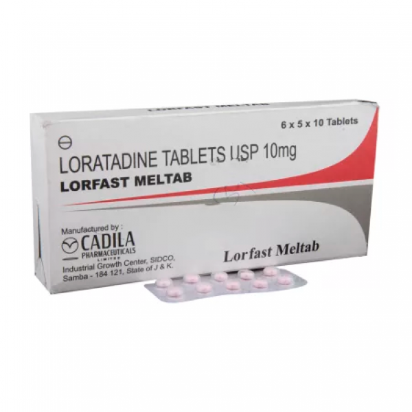A box and a strip of Loratadine 10mg Tablet