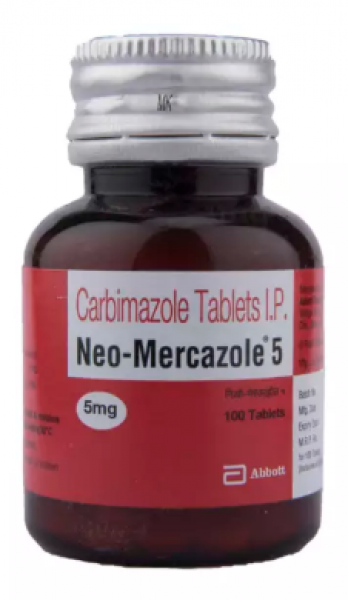 Bottle of generic Carbimazole 5mg Tablet