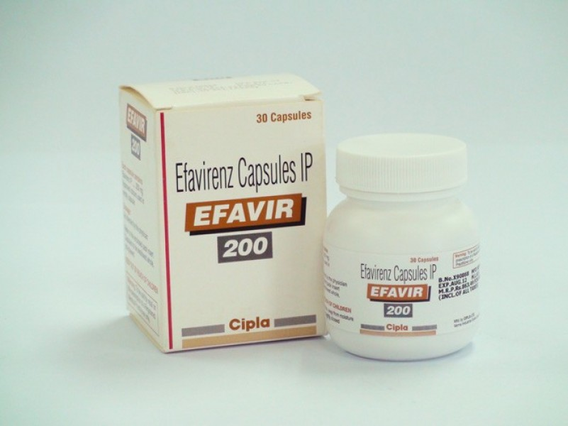 Bottle and a box of Efavirenz 200 mg Capsules