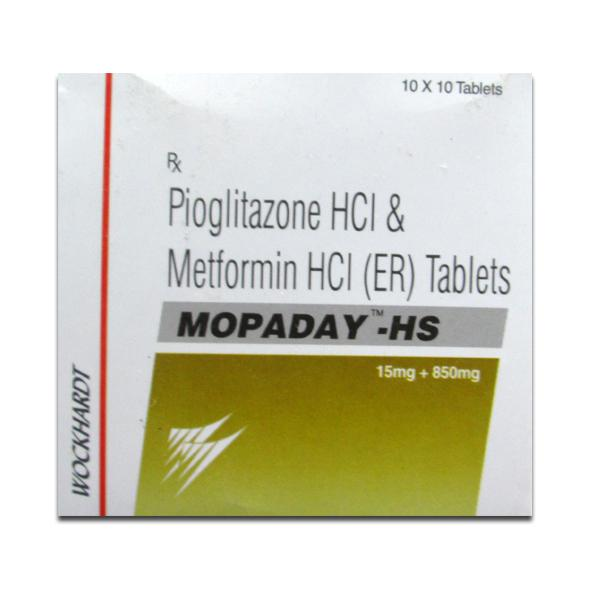 Box of generic pioglitazone 15 mg, metformin 850 mg tablets