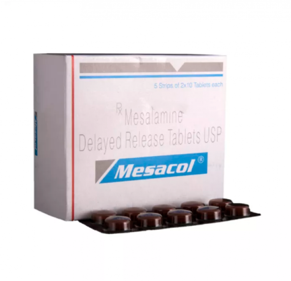 Box and blister strip of generic Mesalamine 400mg tablets