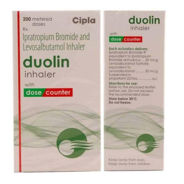 Front and back of generic Albuterol Sulfate and Ipratropium Bromide 20mcg/50mcg Inhaler box