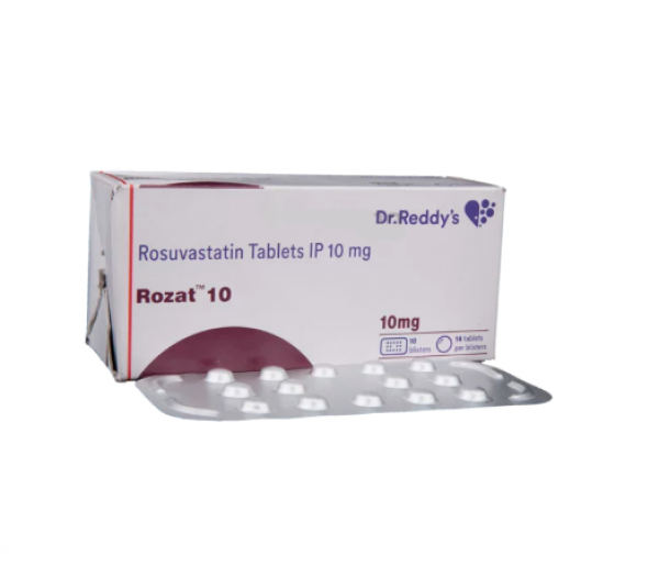 Box and blister strip of generic Rosuvastatin Calcium 10mg tablets
