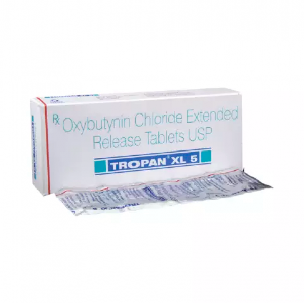 A box and a strip of generic oxybutynin chloride 5mg tablets