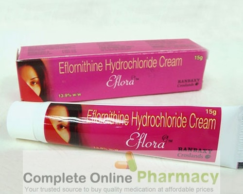 Box and a tube of eflornithine hydrochloride Cream