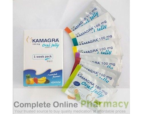 Generic for viagra (Kamagra) Oral Jelly 100mg Week Pack with 7 flavours  (Generic Equivalent)