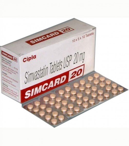 Box and blister strip of generic Simvastatin 20mg tablets