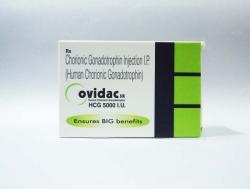 A box of Ovidac 5000 iu/ml HCG Injection