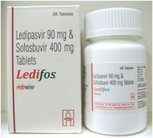 A box and a bottle of generic ledipasvir 90mg and sofosbuvir 400mg tablets