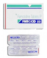 A strip and a box of generic Famotidine 20mg Tablet