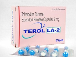 Box and blister strip of generic Tolterodine 2mg capsules