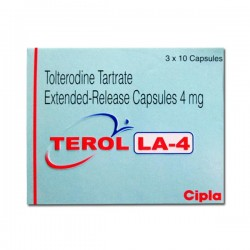A box of generic Tolterodine 4mg Capsules