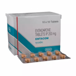 Box and blister strips of generic Entacapone (200mg) Tablet