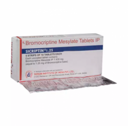 A blister and a box of Bromocriptine 1.25 mg Tablet