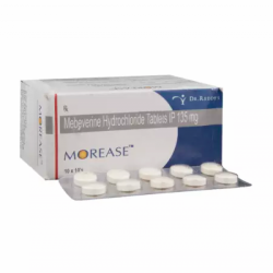 A box and a strip of generic Mebeverine (135mg) Tablet
