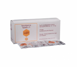 A box and a blister strip of generic Neostigmine (15mg) Tablet