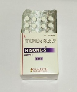 Box and blister strips of generic Hydrocortisone (5mg) Tablet