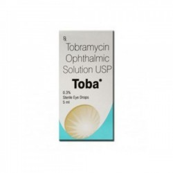 Box of generic Tobramycin 0.3 %  Eye Drop 5 ml