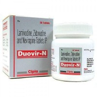 Bottle and a box pack of Lamivudine (150mg) + Zidovudine (300mg) + Nevirapine (200mg) Tablets