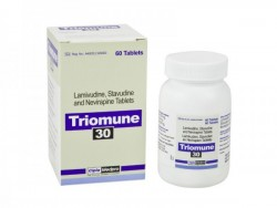 Bottle and a box of Lamivudine (150mg) + Stavudine (30mg) + Nevirapine (200mg) Tablets