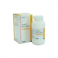 Bottle and a box of Lopinavir (200mg) + Ritonavir (50 mg) Tablet