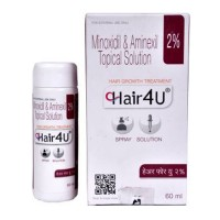 A bottle and a box of Minoxidil 2 % and Aminexil 1.5 % Solution