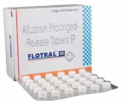 A box and a strip of generic Alfuzosin 10mg Tablet