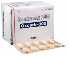 Box and blister strips of generic Oxcarbazepine 300mg Tablet