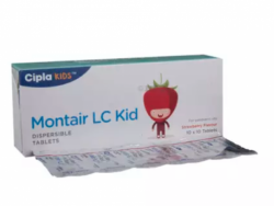 A box and a strip of Levocetirizine 2.5mg and Montelukast 4mg Tablet