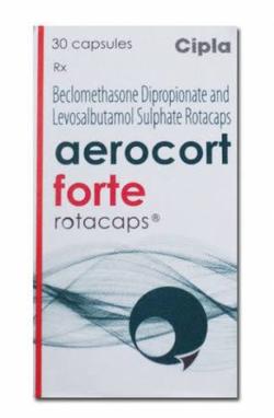 A box of generic Levalbuterol (100mcg) + Beclometasone (200mcg) Rotacaps with Rotahaler