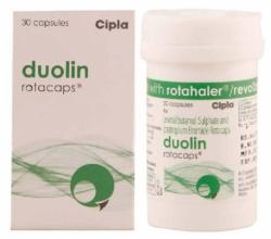 A bottle and a box of Levalbuterol (100mcg) + Ipratropium (40mcg) Rotacaps with Rotahaler
