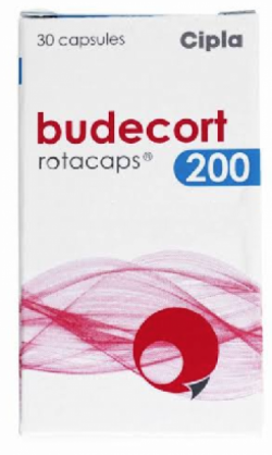 A box of generic Budesonide 200mcg Rotacaps with Rotahaler