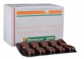Box and blister strips of generic Mesalamine 800 mg Tablet