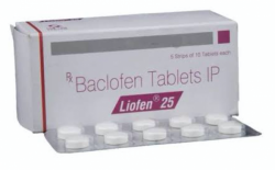 A box and a strip of generic Baclofen 25mg Tablet