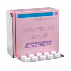 Box and blister strips of generic Carbamazepine 100mg Tablet
