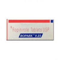 Box of generic Ropinirole 0.25 mg Tablet