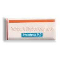 Box of generic Pramipexole 0.5mg Tablet