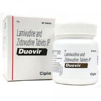 Bottle and a box pack of Lamivudine (150mg) + Zidovudine (300mg) Tablets