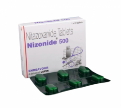Box and strip of generic Nitazoxanide 500 mg Tablet