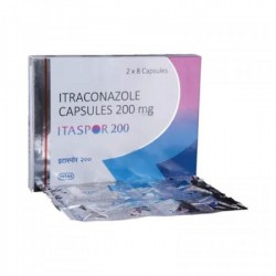 A box and a blister pack of generic Itraconazole  200mg Capsule