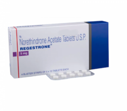 Box and a strip of generic Norethindrone 5mg Tablet