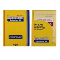Front and back box of generic Alendronate Sodium 35mg tablet