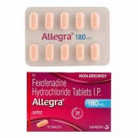 Box and blister strip of generic Fexofenadine Hcl 180mg tablets