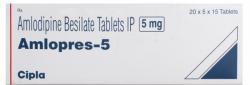A box of generic Amlodipine Besylate 5mg tablets