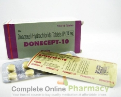 A box and a blister of generic Donepezil HCl 10mg tablets