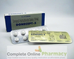 A box and a blister of generic Donepezil HCl 5mg tablets