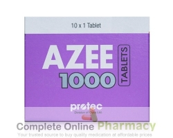 A box of generic azithromycin 1000mg tablet