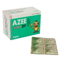 A box and a blister of generic azithromycin  100mg dispersible tablet